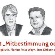 Rüdiger Jungbluth, Florian Felix Weyh, Jens Dirksen und Andreas Zeuch (v. l. n. r., gezeichnet von Franziska Köppe / madiko)