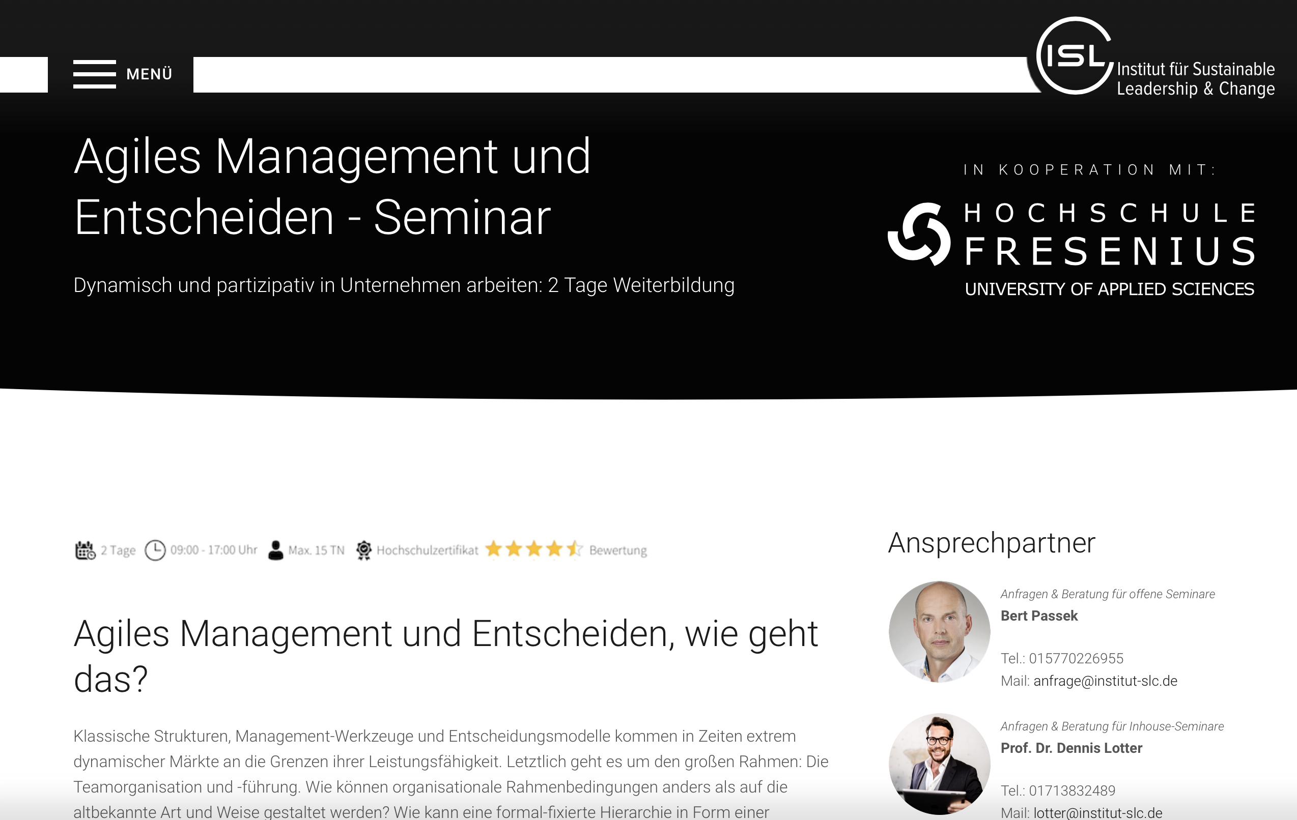 Seminar Agiles Management und Entscheiden.
