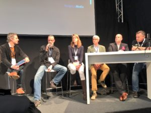 v.l.n.r.: Alexander Kluge (Moderation), Andreas Zeuch, Silke Luinstra, Alexander Klier, Winfried Felser u. Gunnar Sohn