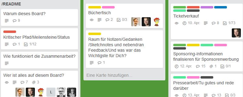 Screenshot Creative Collaboration Culture Day Orga-Board Trello - Soziokratie 3.0?