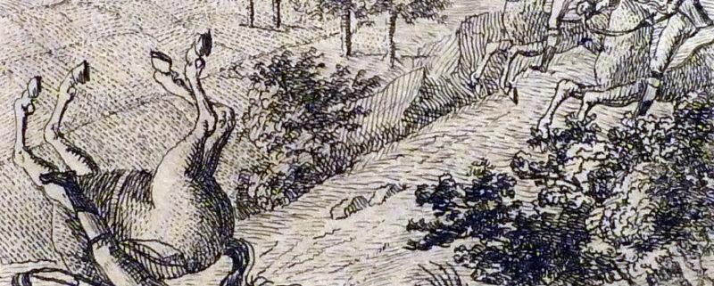Lügen - Lügenbaron Münchhausen schlägt mit seinem Pferd einen Purzelbaum